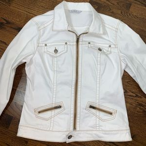 CAbi Rodeo Denim Jacket in White Medium
